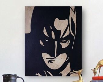 Batman Hand Painted Canvas Art | Spray Paint Wall Art | Coffee on Canvas
