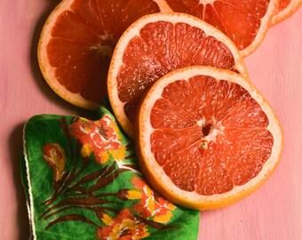Citrus 3, orange and pink art print, fruit, kitchen wall art, still life photograph, modern print, circles, green, round, cottage chic
