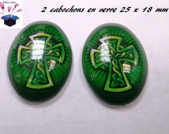 2 cabochons glass 25mm x 18mm breton theme