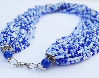 Mother Day Gift, Blue Twisted Necklace, Chunky Necklace, Multi Layer Necklace, Seed Bead Necklace - Mothers in Law Gift