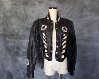 Vintage Black Southwestern Style Genuine Leather Jacket/ Beaded/ Boho/ Small
