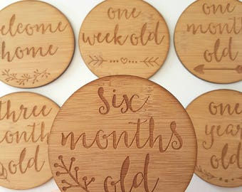 Milestone Cards for Newborns-kids gift-baby gift-lasercut-baby shower-new baby-new baby-bamboo-wooden-wood-etched