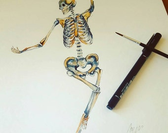 Watercolour Anatomy Art- Complete Skeleton