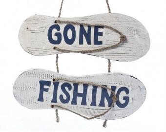 Gone FIshing Flip-Flop Sign
