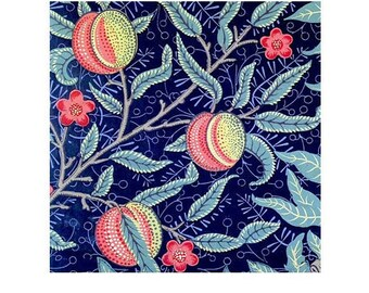 Handmade Tile Coaster - Traditional Classic William Morris Design - peaches on navy