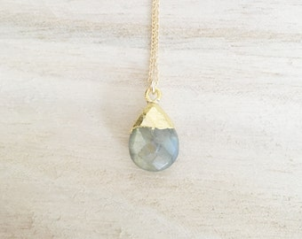 Labradorite gemstone drop necklace, labradorite necklace, gemstone necklace, stone necklace, layering, gold necklace, dainty necklace