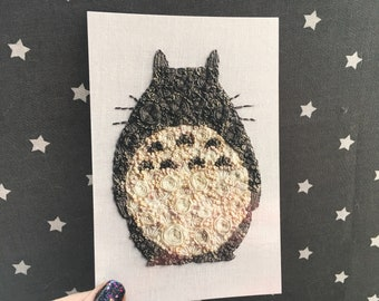 Floral Pop Totoro Hand Embroidery 4x6 Print Fan Art