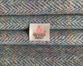 Rainbow Blue Herringbone Harris Tweed, Fabric Piece - 30 x 25cm With Authenticity Label