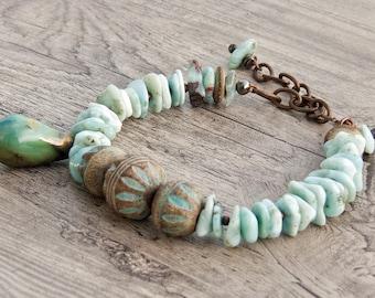 Larimar blue rustic stacking cuff bracelet artisan ceramic gemstone jewelry in aqua-  Balelaceramics- Scorched Earth- WinterBirdstudio