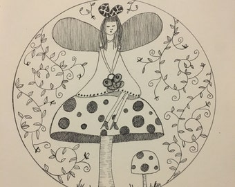 Butterfly Fairy Wall Art Print of Original Ink Drawing - Limited Edition Signed Illustration Resting Faerie