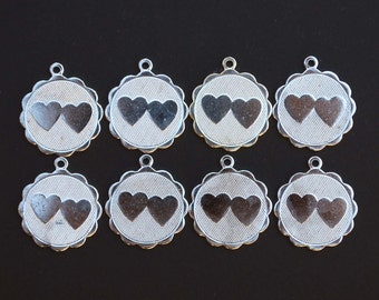 Vintage Lot of 8 Double Hearts Silver Toned Charm Pendants New Old Stock