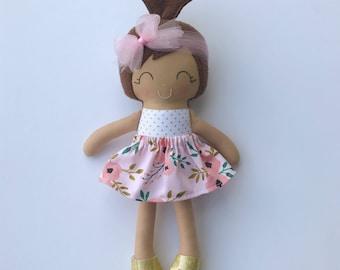 Cloth doll - fabric doll - handmade doll - rag doll - girls room decor -