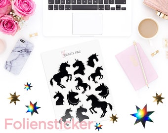 Foiled Shadow Unicorns Stickerset-watercolour sticker-Pretty planning-scrapbooking-bullet journaling