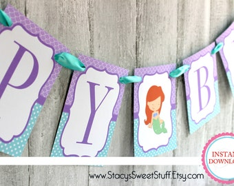 Mermaid Banner, Mermaid Birthday, Happy Birthday banner,  Little Mermaid, Birthday, Birthday Banner, Mermaid Party, Under the Sea Party