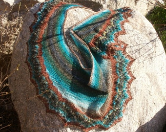Enchanted Forest -Jewel Toned Hand Knit  Noro Lace Shawl