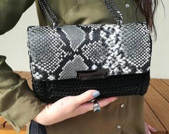 Snake leather crochet purse