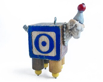 assemblage dog ornament, mixed media art puppy, altered art doll by Elizabeth Rosen