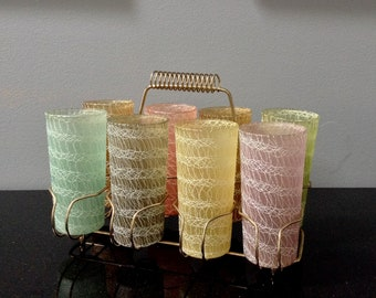 Spaghetti String Glasses with Carrier / Mid Century Spaghetti String Highball Glasses in Caddy / 1950's 1960's / Vintage Barware