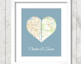 8x10 USA Heart Love Maps - Dallas, Texas - Boulder, Colorado - Two States, One Print - Any States Available - Long Distance Love