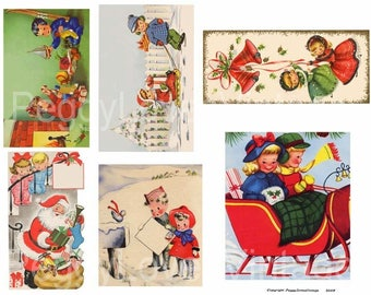 Christmas Kids 4 Digital Collage from Vintage Christmas Greeting Cards - Instant Download