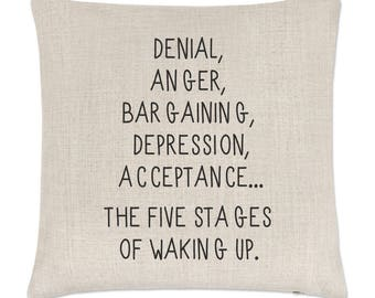 Five Stages Of Waking Up Linen Cushion Cover