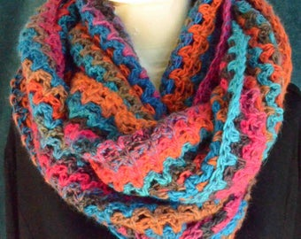 Hand crocheted Mobius infinity scarf