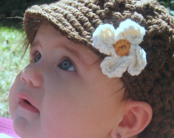 Crochet Baby Organic Cotton Newsboy Cap, Toddler Newsboy hat, baby organic hat // Many colors and sizes to choose from // Baby shower gift