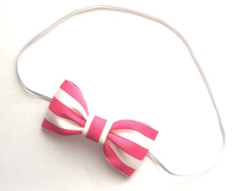 Pink and White Striped Bow or Headband