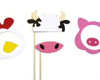 Photo Booth Props- Farm Animal themed prop set- Barnyard party