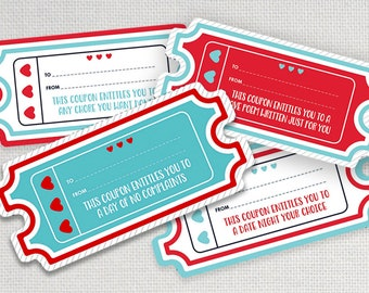 Sweetheart Love Coupons x 20, Love Vouchers to cut out and give, Romantic gift, INSTANT DOWNLOAD