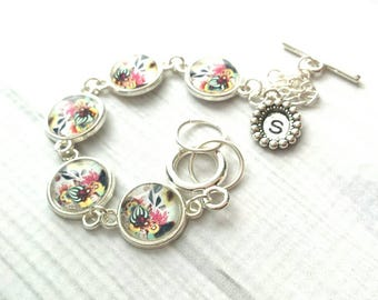 Floral Bracelet - personalized initial silver adjustable charm - flower letter monogram - hand stamped monogram - toggle clasp gift idea mom