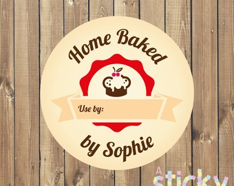Personalized Baked With Love Stickers, Home Baked Stickers, Baking Labels, Baking Tags, Personalized Baking Stickers, Custom Stickers
