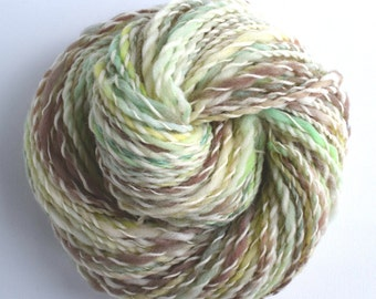Hand Dyed and Spun Yarn, Southdown fiber, Spring.