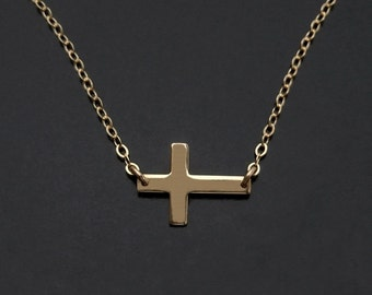 Sideways Cross Necklace - 14kt Gold Filled - As Seen On Taylor Jacobson