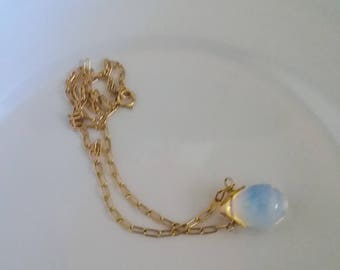 Simulated opal drop gold filled chain dainty necklace