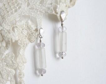 White Quartz Amethyst Earrings, Polygon Earrings, Stone earrings, Dangle Earrings, Gift for her, Gift for wife, Gift for girlfriend