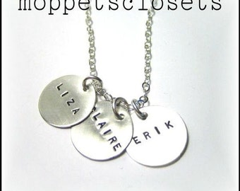Custom Hand Stamped 3 Charm Mother's Necklace - Express Yourself