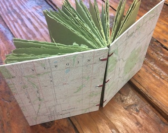 Vintage map journal, handmade paper journal, sketch book, travel journal, guest book, recycled guestbook, diary, green paper, geography