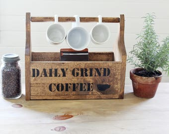 Farmhouse Coffee Shop Graphics Wooden Tote with Paper Towel Holder - Handmade Rustic Graphics Kitchen Storage Organization