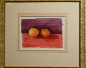 Still Life Watercolor / Tangerines / Signed and dated 2002