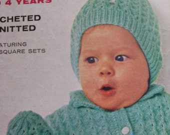 Vintage Knitting PDF Patterns for Babies Sweater, Hat, Booties, Mittens Set 170g