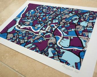 Bristol Art Map - Limited Edition Contemporary Giclée Print