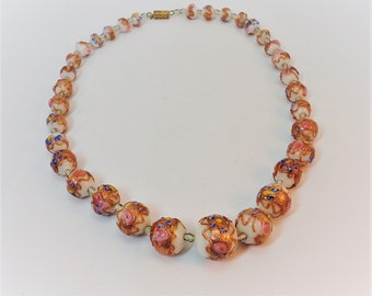 60s wedding cake beads glass gold & pink necklace vintage