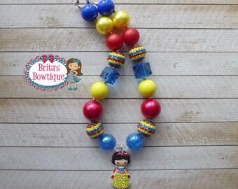 Girls Adorable Princess Snow White Inspired Rhinestone Chunky Bubblegum Bead Necklace - Snow White, Birthday Party, Photo Props