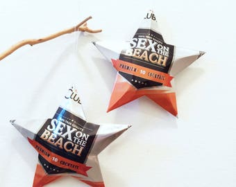 Sex on the Beach, Sunny Margarita, Blue Motorcycle Premium 10 Cocktail Aluminum Can Stars, Clubtails, Christmas Ornament