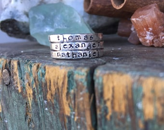 hand stamped fine silver stacking rings... Personalized stackable stacking rings Thicker version sterling silver