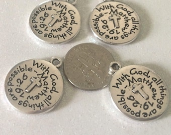 16 - With God All Things are Possible, Faith Pendants, Cross Pendants, Inspirational Pendants, Psalm 46, 2 sided pendants