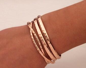 Hammered Cuff Bracelets, 14K Rose Gold Filled