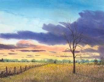 Landscape painting watercolor landscape PRINT sunset field tree fence row farm land fall  GICLEE reproduction