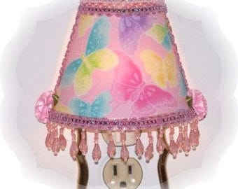Pink Sparkly Glitter Multi Color Butterflies NIGHT LIGHT Girlie Girls Room Decor